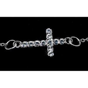 Round Diamond Cross Bracelet 3.30 Carats White Gol